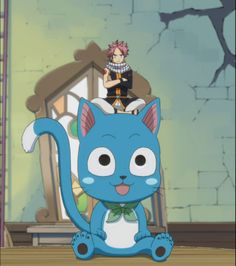 Fairy Tail - Big Happy and Small Natsu. Fairy Tail Happy, Natsu Fairy Tail, Fairy Tail Anime, Fairytail, Nalu, Erza Scarlet, Natsu And Lucy, Fairy Tail Guild, Dragon Slayer