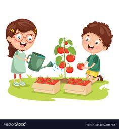 Of kid farmer Royalty Free Vector Image - VectorStock Preschool Worksheets, Preschool Crafts, Painting For Kids, Drawing For Kids, Speech Activities, Activities For Kids, Good Habits For Kids, Earth For Kids, Farm Kids