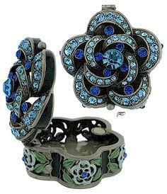Trinket Box: Blue Floral Swirls