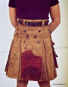 Steam Punk Kilt! Full Steampunk with Leather Panel. $400.00, via Etsy.