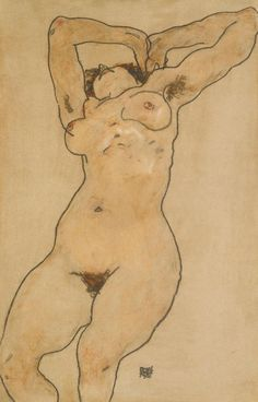Schiele. (RECLINING NUDE),1918 charcoal on paper (probably coloured by another hand) 45 by 29.2cm., 17 3/4 by 11 1/2 in