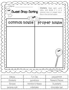 common and proper nouns-Freebie could sort and WRITE instead of ...