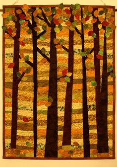 Autumn 2015 - by Melinda Suranyi - melipatch Appliqué Quilts, Outdoor Furniture, Outdoor Decor, Fall 2015, Applique, Autumn, Park, Painting, Home Decor