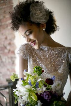 black bridal hair and make up styles. Love this embellished wedding dress so beautiful!