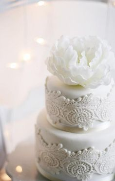 via All White Wedding Cakes / Wedding Style Inspiration / LANE (PS Follow The LANE on instagram: the_lane)