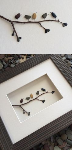 Pebble Art by Sharon Nowlan : Creating Powerful Imagery Through Pebbles. HUmm thinking of using my sea glass instead of pebbles. Would be beautiful. Stone Crafts, Rock Crafts, Fun Crafts, Diy And Crafts, Arts And Crafts, Decor Crafts, Caillou Roche, Cuadros Diy, Art Pierre