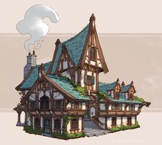 Medieval Inns, Jourdan Tuffan - Minecraft, Pubg, Lol and Fantasy Town, Fantasy House, Medieval Fantasy, Minecraft Medieval Village, Medieval Houses, Building Concept, Building Art, Building Sketch, Architecture Minecraft