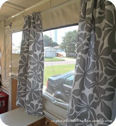 Instructions for making new curtains for the pop-up! Tent Campers, Camper Trailers, Pop Up Campers, Happy Campers, Camper Curtains, Curtains For Camper, Easy Curtains, Popup Camper Remodel, Remodeled Campers