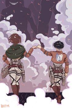 Attack on Titan (SnK) - Levi Ackerman and Zoë Hange - LeviHan Manga Anime, Film Manga, Fanarts Anime, Anime Art, Attack On Titan Funny, Attack On Titan Ships, Attack On Titan Fanart, Levihan, Ereri