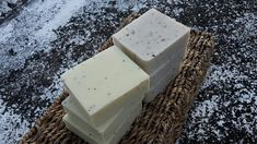 Creamy handmade soaps scented with a blend of Rosemary Lavender essential oils & Eucalyptus Lemon essential oils.