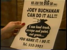 Dorian holds Joey Buchanan's ad. | One Life to Live (July 28, 1994) | Tags: The Rich and the Filthy, The Spoonatics