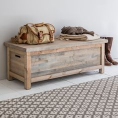 With its rustic charm and ample storage the Aldsworth Hallway Bench Box is perfect for keeping the home organised and clutter free. Crafted from FSC Spruce from sustainable sources in Europe, the storage box comes with a light grey wash and allows the natural wood grains to show through. Standing on raised feet the storage trunk is ideal for use in the hallway for shoes, sports equipment and children's toys or as a blanket box at the end of the bed. It's designed with two cut out...