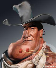 John Wayne by Russ Cook - www. John Wayne, Funny Caricatures, Celebrity Caricatures, Iowa, Create A Comic, Caricature Drawing, Wow Art, Funny Art, Image Shows