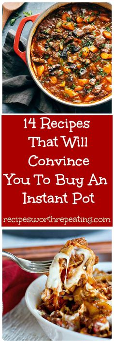 If you haven't jumped on the Instant Pot bandwagon yet, you are missing out! I've got 14 Instant Pot recipes thatare beyond delicious, super easy to make and willspeed up your prep and cook time like never before! #pasta #beef stew #oatmeal #cheesecake #chinese #instantpot #casseroles | recipesworthrepeating.com Power Cooker Recipes, Healthy Pressure Cooker Recipes, Multi Cooker Recipes, Instapot Recipes Paleo, Instapot Pasta, Instantpot Chicken Recipes, Instapot Beef Stew, Instapot Ribs, Tefal Cook4me Recipes