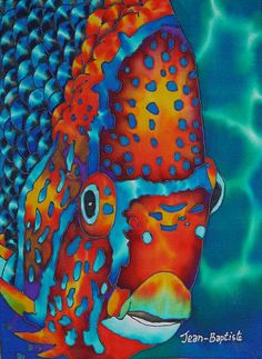 King Angelfish Painting. I love this art, but where will I hang it? Ace's room I think? Here kitty, kitty!