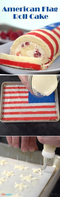 Wow your guests this Fourth of July with this patriotic American Flag Roll Cake…