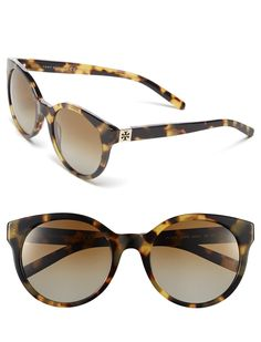 The round lenses and the glossy cat-eye frame lend irresistible retro appeal to these ultra-flattering Tory Burch sunglasses.