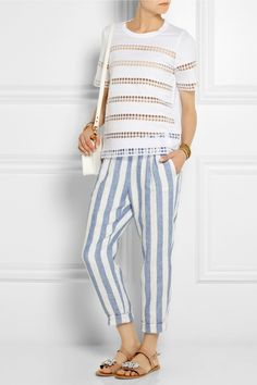 J.Crew | Striped linen tapered pants | NET-A-PORTER.COM