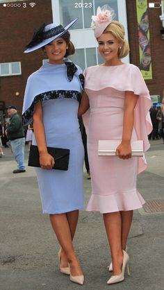 Hats worn with pink and blue dresses appropriate for daytime