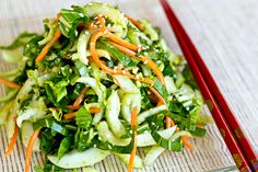 Baby bok choy, carrots with sesame-soy vinaigrette