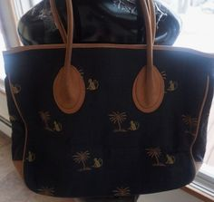 J McLaughlin MONKEY Leather & Fabric XL Tote Bag Purse #JMcLaughlin #TotesShoppers