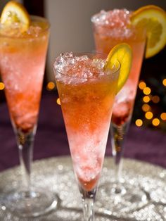 Liam's Midnight Toast :  A flavorful, colorful and classy cocktail for New Year's Eve ... ingredients: 4 oz. champagne, 1/2 oz. cognac, 1/2 oz. Grand Marnier, dash of Campari, orange wheel (garnish) and  crushed ice.  Happy New Year!