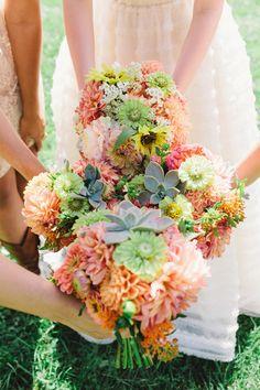 amazing bouquets, photo by Brett & Jessica http://ruffledblog.com/lady-luck-farms-asheville-wedding #bouquets #flowers #wedding