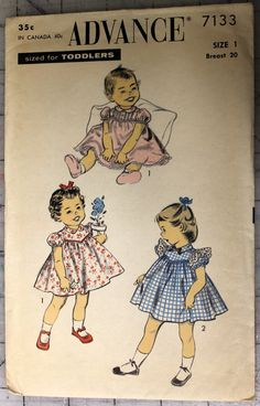 Advance 7133 Vintage 1940's Toddlers Dress Pattern by sugarkitty, $10.00