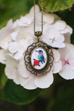 Bird necklace Hand embroidered necklace Bird by byKALYNKA