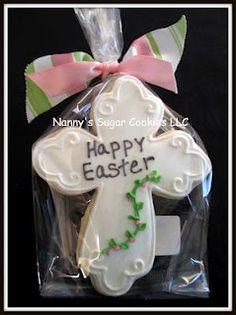 Easter cross sugar cookie by Nannys Sugar Cookies Iced Cookies, Easter Cookies, Royal Icing Cookies, Easter Treats, Sugar Cookies, Cookies Et Biscuits, Easter Desserts, Cross Cookies, Icing Techniques