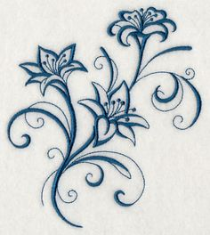 Embroidered Inky Lilies on Gourmet Flour Sack or Tea Towel