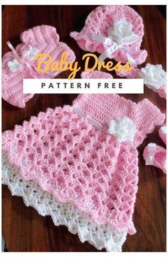 Crochet Baby Dress Free Pattern, Crochet Bolero, Baby Dress Patterns, Baby Girl Crochet, Crochet For Kids, Baby Knitting Patterns, Crochet Dress Girl, Style Patterns, Knit Baby Dress