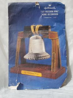 1970s Let Freedom Ring Liberty Bell Honeycomb Tissue Paper Centerpiece