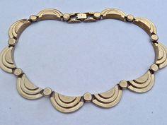 Sold - Jakob Bengel German Art Deco Machine Age Chrome Collar Necklace c1930s Germany