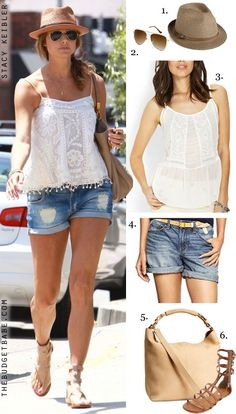 Dress by Number: Stacy Keibler's White Top and Gladiator Sandals