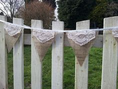 Vintage style burlap and lace bunting by eyecandy vintage x