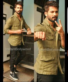 Shahid Kapoor was spotted in an Olive Green Shirt today as he kick Started the promotions of his next movie Udta Punjab which will release on 17th of June. He was wearing a jumper by Zara and looked uber cool with his nicely trimmed Beard. PIC CREDIT @InstantBollywood  @BOLLYWOODREPORT !! #shahidkapoor #udtapunjab #AliaBhatt #diljitdosanjh #punjab #Punjabi #desi#Kapoor #Menswear#Khaki #khakijacket #Army #ready #promotions #mirarajput #bollywood #stylefile #celebritystyle #bollywoodstylefile…
