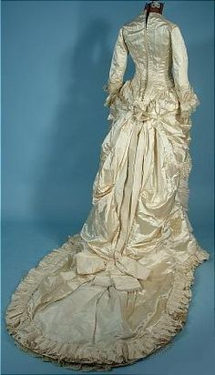 c. 1882 Wedding Bustle Gown of Ivory Satin with Pearls and Silk Confetti Fringe! Back Lacing! Long Train!