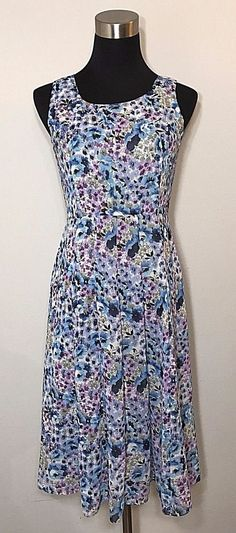 Talbots Womens Size 2P Dress Blue Purple Gray Floral Spring Floral Career Work #Talbots #WeartoWork