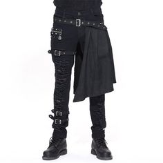Devil Fashion Men Trouers with kilt Holes Gothic Detachable Slim... ($75) ❤ liked on Polyvore featuring men's fashion, men's clothing, slim fit mens clothing, goth mens clothing, men's apparel, mens clothing and gothic mens clothing