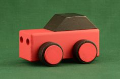 "Handmade Wooden Toy Cars, Car Made from 2x4s,""Wood Toys Cars & Trucks"" plan book Red, Black, #odinstoyfactoy #handmade #handcrafted #woodentoys #toys #tallahassee #florida #cars #red #black"