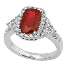 RR25446: This ring is undoubtedly stunning with its vivid red ruby center stone. Set in platinum with 0.64ct premium cut round diamonds, the ruby is non-heated and has a total weight of 1.98ct. | www.goldcasters.com