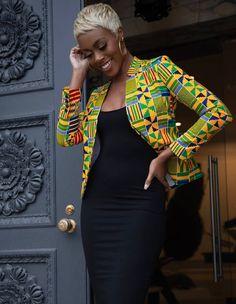 African Clothing/ Ankara Jacket/ Print/ Ankara print/ African Print - Women's style: Patterns of sustainability African Print Clothing, African Print Dresses, African Dresses For Women, African Attire, Ankara Clothing, African Outfits, African Women, African Dress Styles, African Print Dress Designs