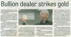 Excited to be featured in the Blackpool Gazette for winning UK Bullion Dealer of the Year 2015.