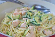 Zucchinispaghetti mit Lachs - Rezept