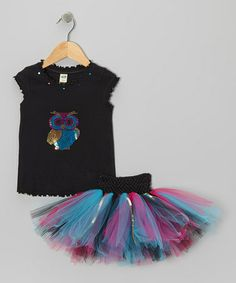 Another great find on #zulily! Black Sequin Owl Top & Blue Tutu - Infant, Toddler & Girls #zulilyfinds