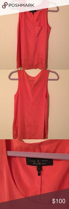 "rag & bone silk hi-low top Gorgeous coral color. Never worn. 25.5"" front 26.5"" back, p to p 16"" rag & bone Tops Tank Tops"