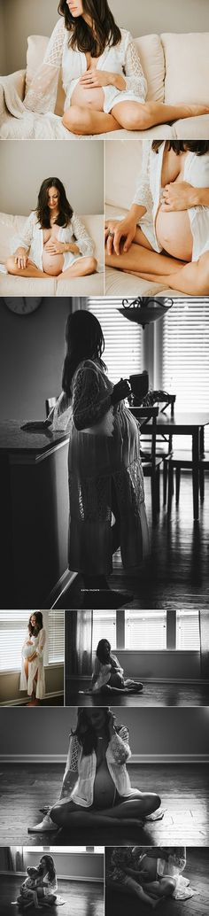 Gorgeous natural light in-home maternity session, pink blush maternity kimono, beautiful mama to be, belly bump photography - Katya Vilchyk