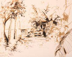 Taiwan Hualien House Brush Pen Drawing