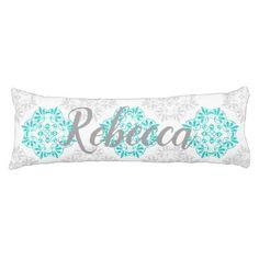 Gray Turquoise Modern Kaleidoscope Damask Pattern Body Pillow - pattern sample design template diy cyo customize